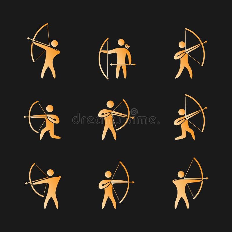 Sylwetki postaci łuczniczki ikony ustawiać ilustracja wektor