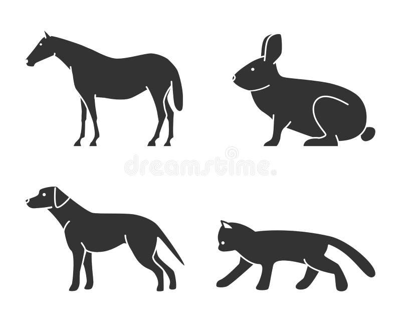 Sylwetki postaci zwierząt ikony ustawiać ilustracji