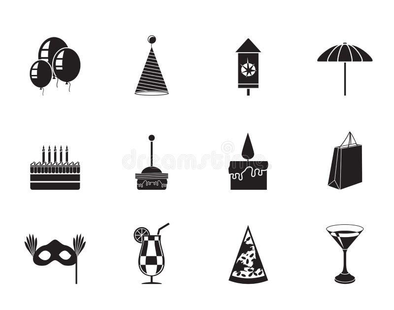 Sylwetki przyjęcie i wakacje ikony royalty ilustracja