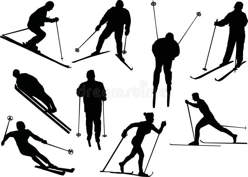 sylwetki różna narciarka ilustracji