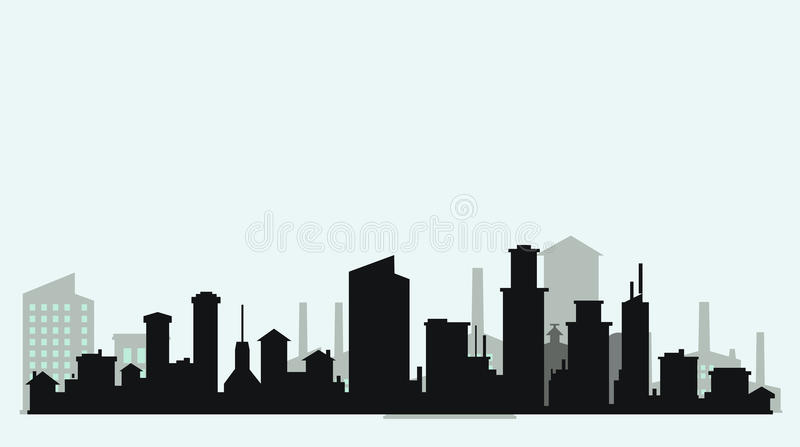 Sylwetki równy miasto royalty ilustracja