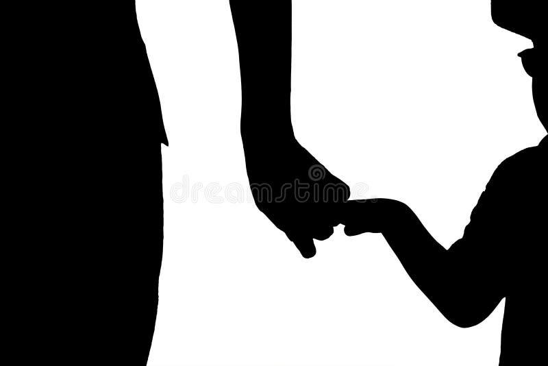 Sylwetki ręka ojciec i syn royalty ilustracja