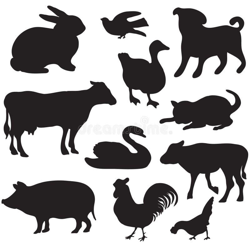 Sylwetki ręki rysujący zwierzęta gospodarskie. Pies, kot, kaczka, królik, krowa, świnia, kogut, karmazynka, łabędź, szczeniak, fig royalty ilustracja
