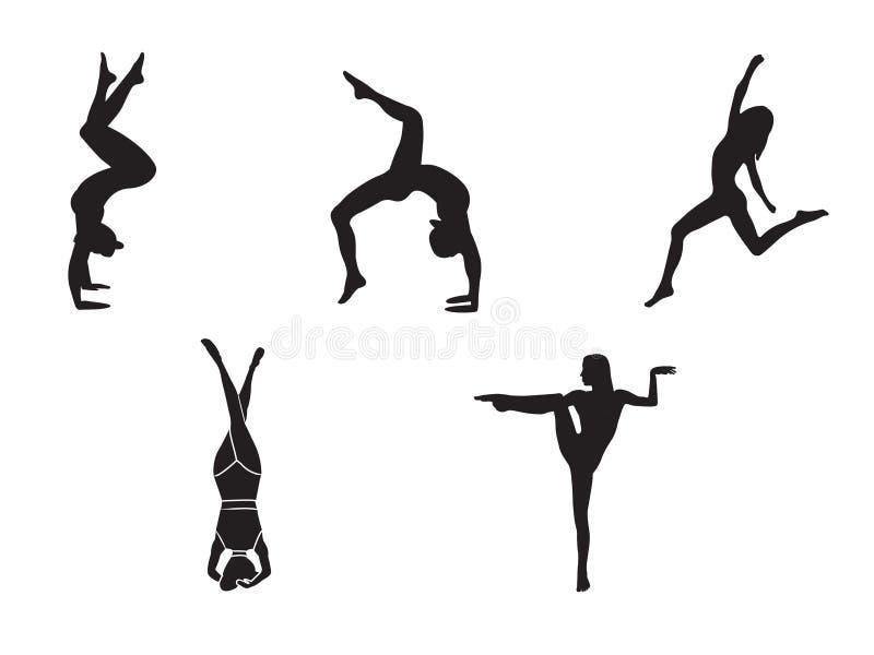 Sylwetki robi joga ćwiczeniom kobieta Ikony elastyczny dziewczyny rozciąganie, relaksować jej ciało w różnych joga pozach i kolor royalty ilustracja