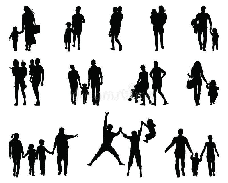 Sylwetki rodziny zdjęcia royalty free