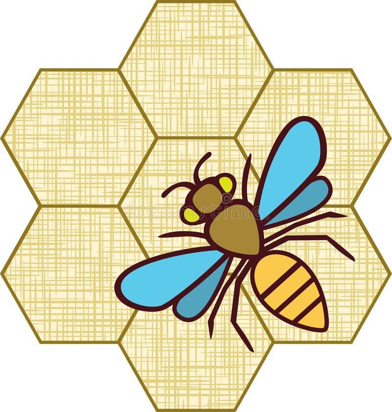Sylwetki rysunkowa pszczoła. Tekstura tkanina. Hon royalty ilustracja