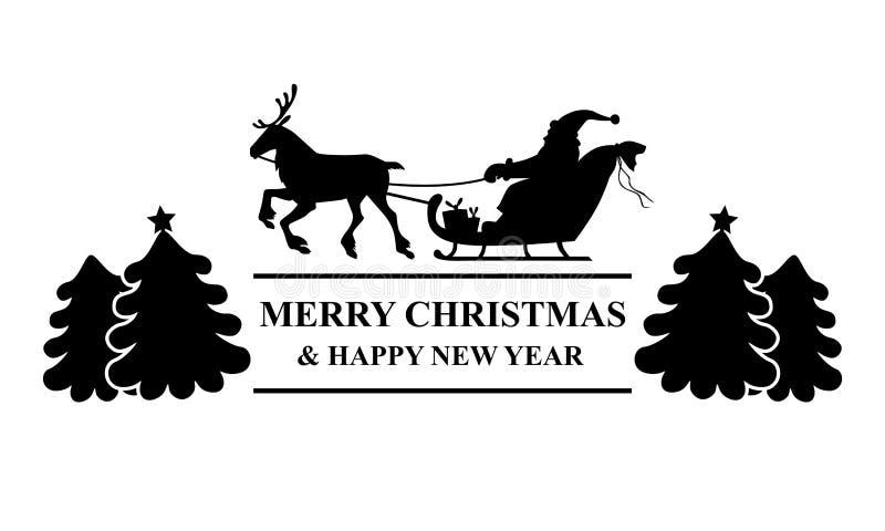 Sylwetki Santa jazda na reniferowej sania powitania ikonie royalty ilustracja
