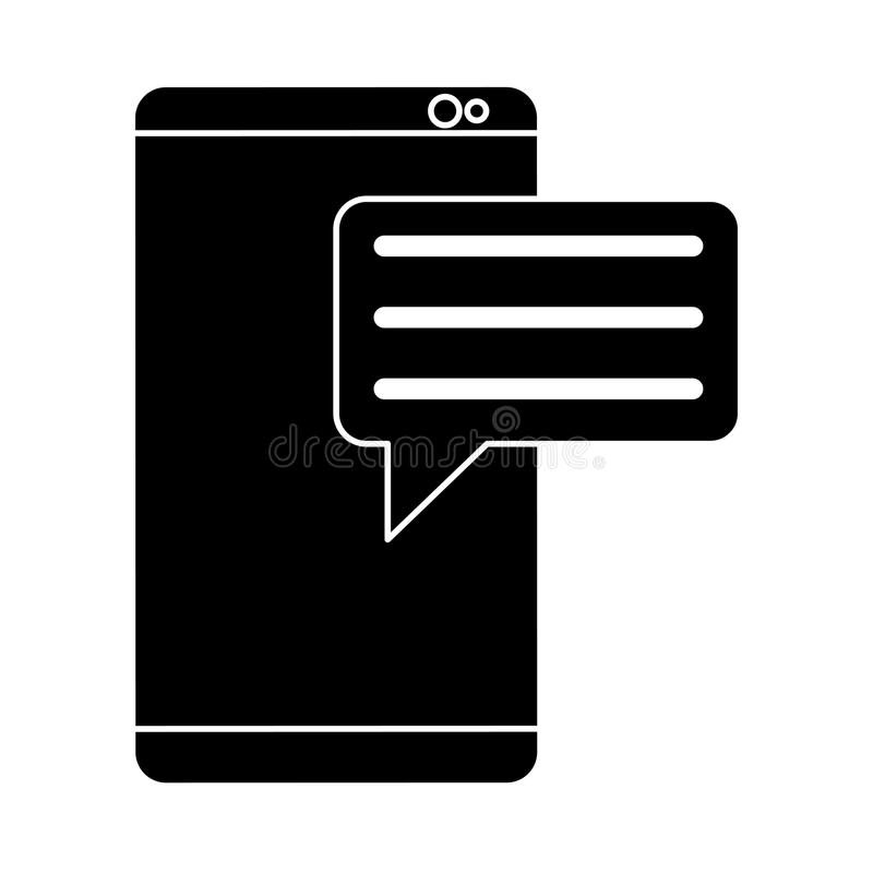 Sylwetki smartphone z bąblem mówi medialną komunikację ilustracja wektor