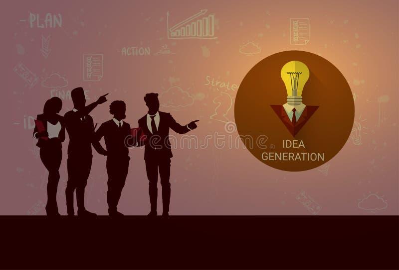 Sylwetki spotkania Drużynowego Nowego pomysłu Seminaryjnego Stażowego Konferencyjnego Brainstorming ludzie biznesu royalty ilustracja