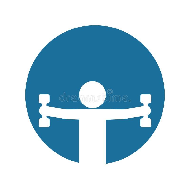 Sylwetki sprawności fizycznej mężczyzna ciężaru dumbbell błękita tło ilustracji