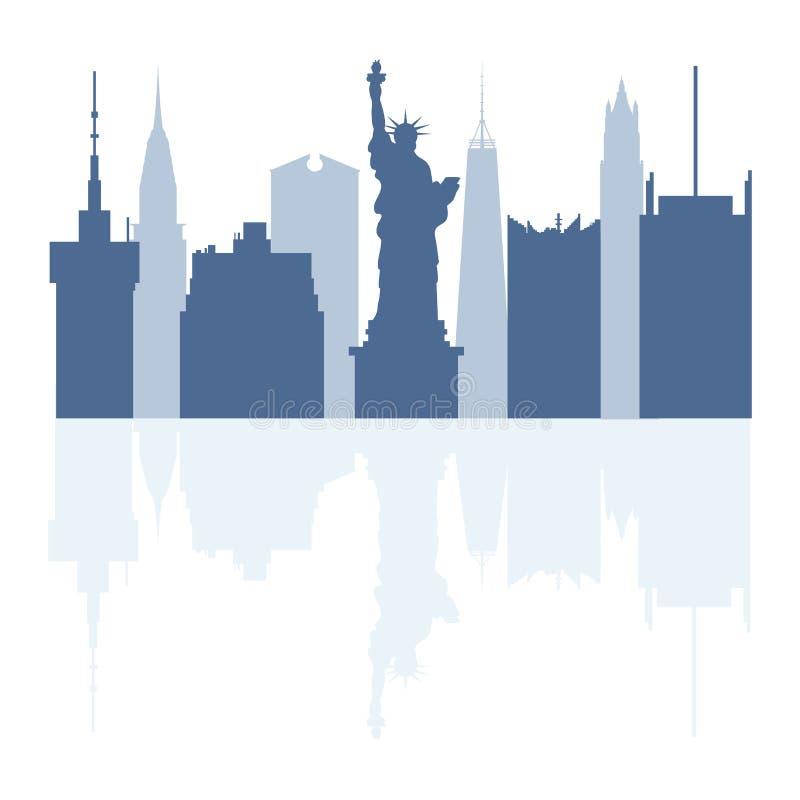 Sylwetki statua wolno?ci, s?awni budynki i nowo?ytni budynki w usa, Wysocy budynki i drapacze chmur ilustracja wektor