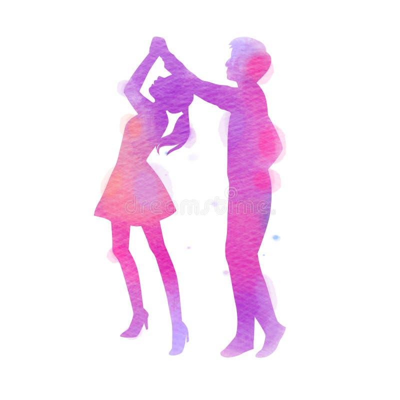 Sylwetki szczęśliwy potomstwo pary taniec szcz??liwy dzie? valentine s bambusowa ilustracyjna japo?skiego stylu akwarela ilustracja wektor