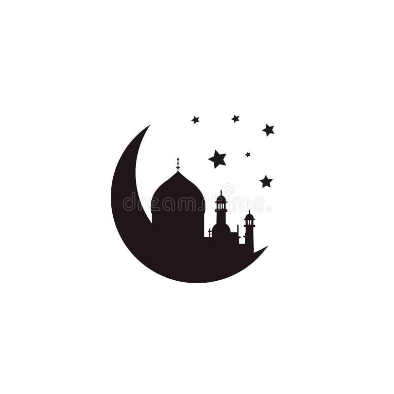 Sylwetki tło z meczetem i półksiężyc dla świętego miesiąca muzułmańska społeczność Ramadan Kareem lub Eid Al Fitr Wektorowy Islam ilustracji