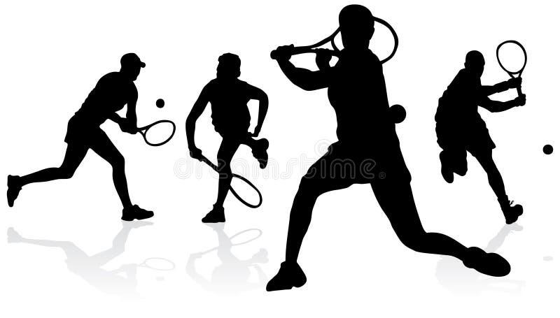 sylwetki tenisowe royalty ilustracja