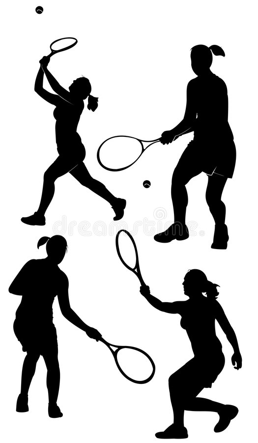 sylwetki tenisowe ilustracja wektor