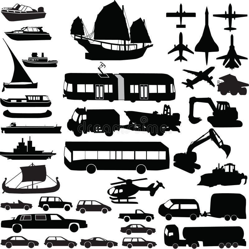 sylwetki transportu wektor ilustracja wektor