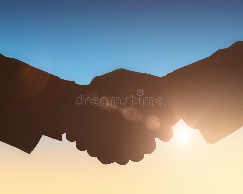 Sylwetki trząść ręki przeciw słońca jaśnieniu ilustracja wektor