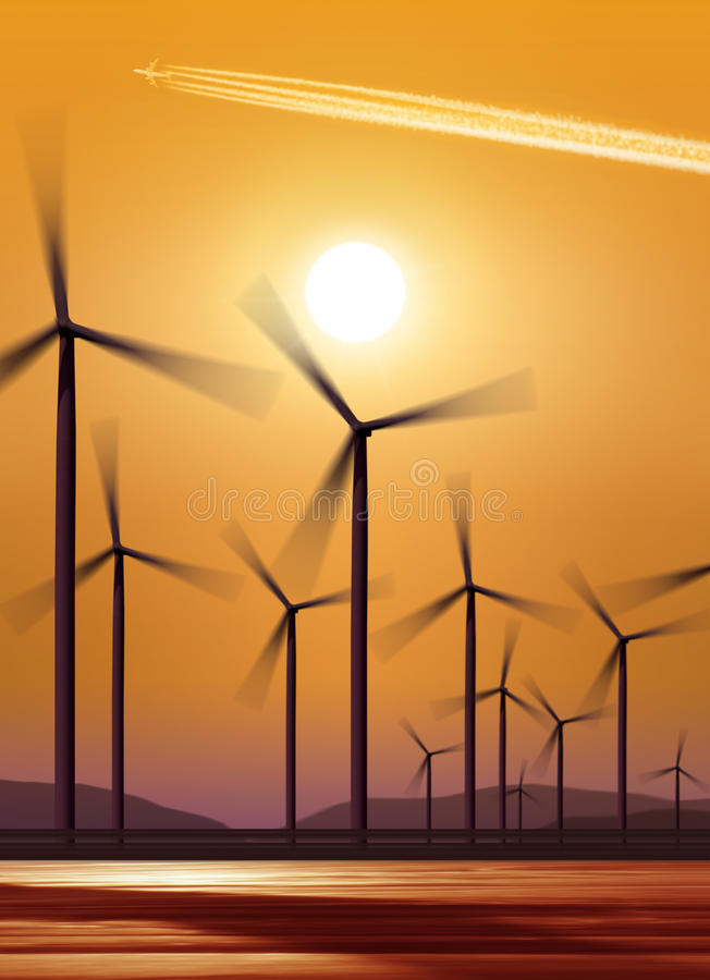 sylwetki turbina wiatr zdjęcia royalty free