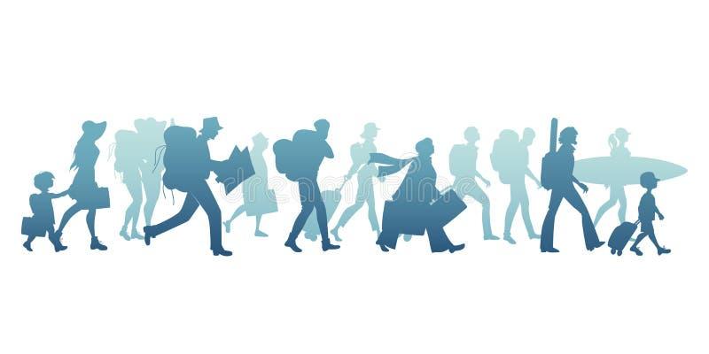 Sylwetki turyści chodzi walizki, plecaki, mapę, gitarę i surfboard przewożenia, ilustracja wektor