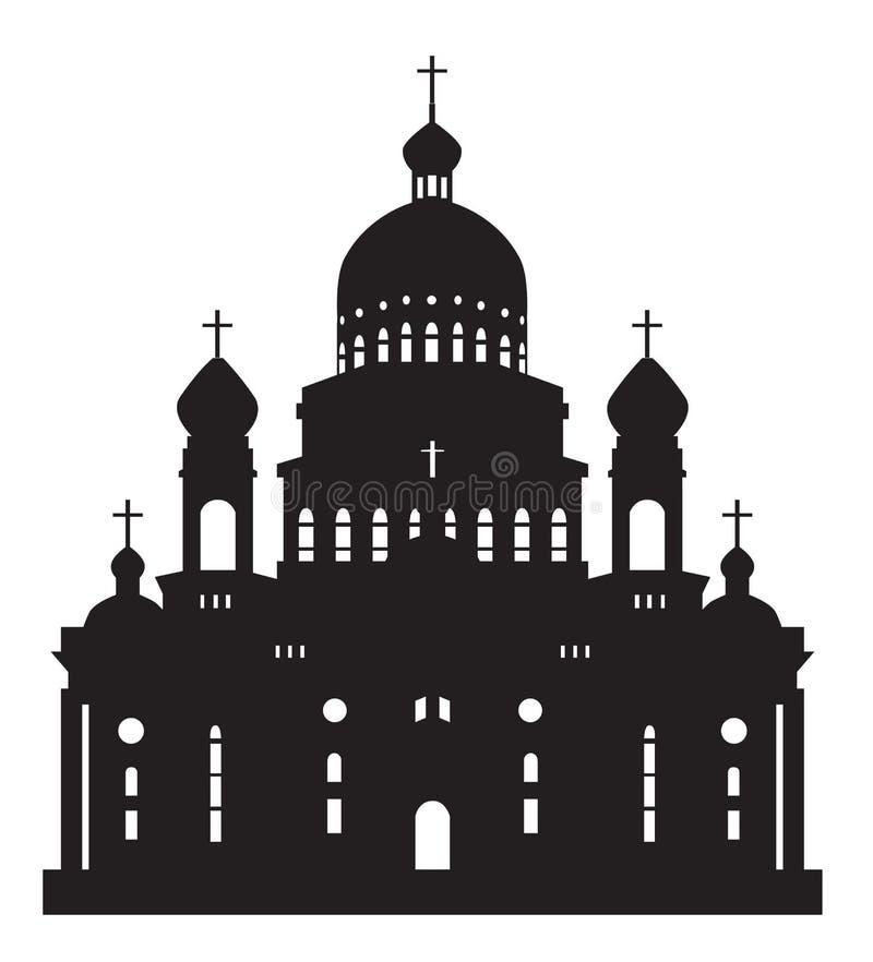 Sylwetki Ushakov katedra ilustracja wektor