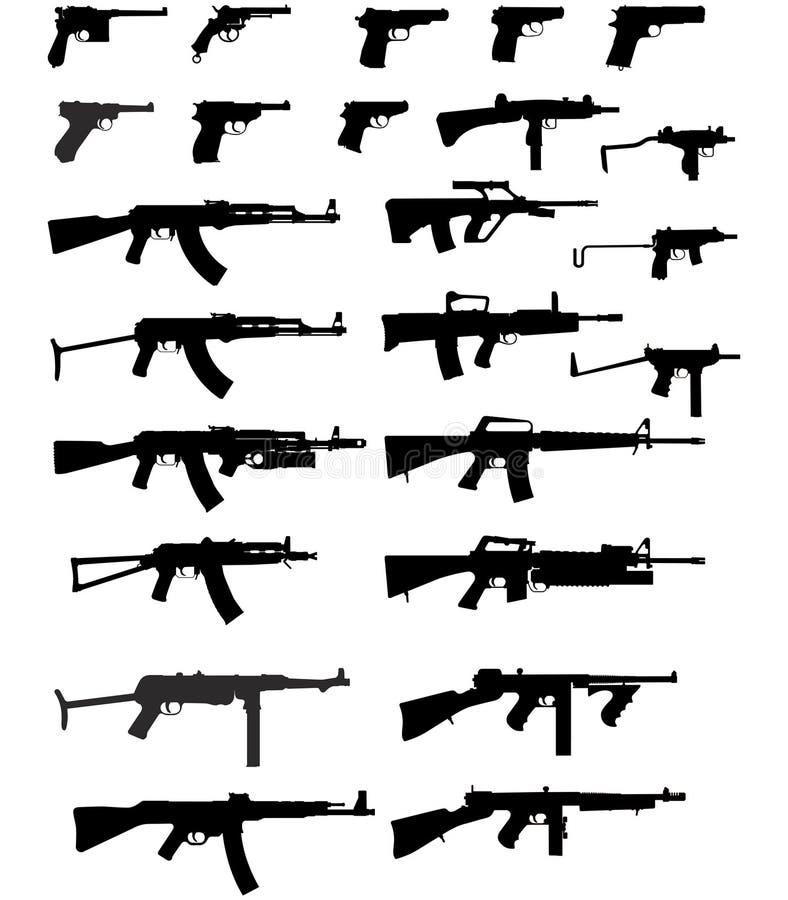 sylwetki vector bronie royalty ilustracja