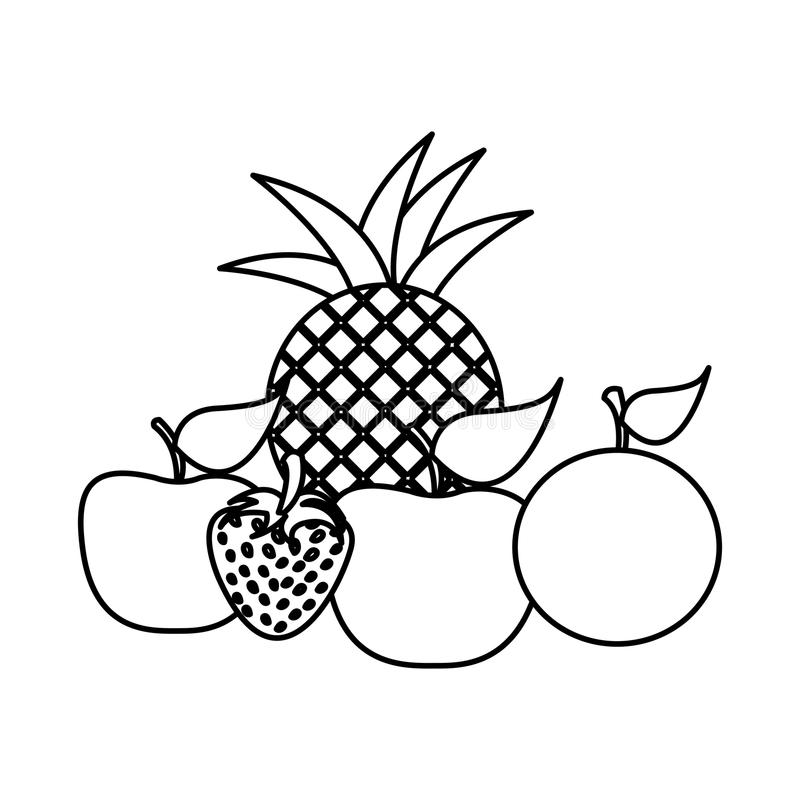sylwetki wciąż życia owoc ikony jedzenie royalty ilustracja