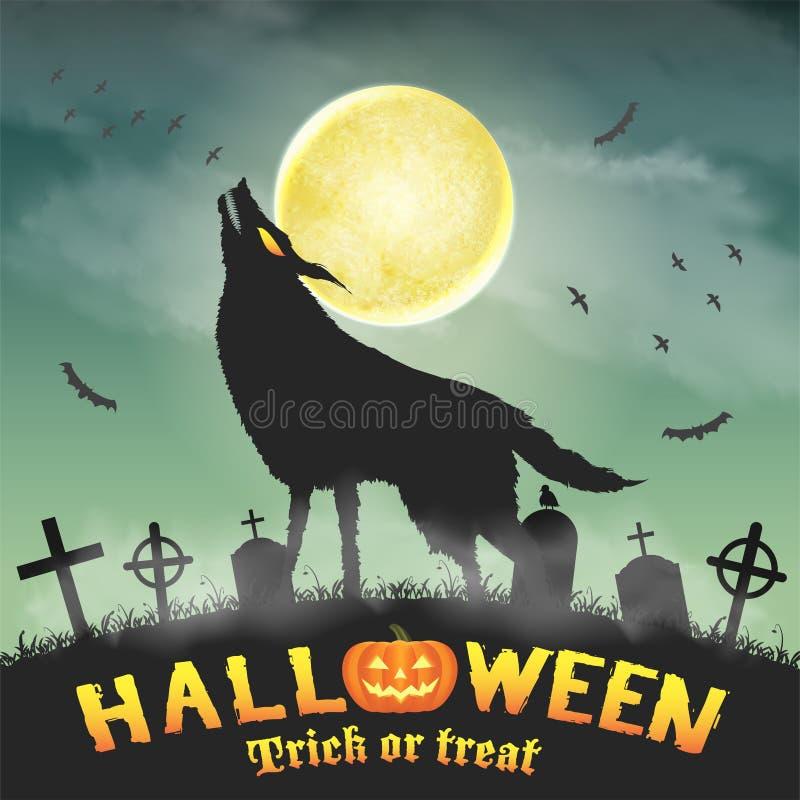 Sylwetki wilczy wycie w noc cmentarzu ilustracji