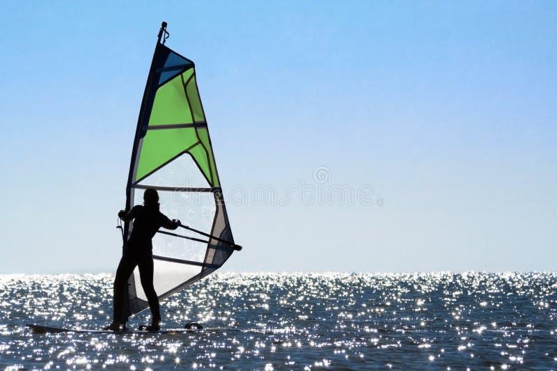 sylwetki windsurfer kobieta fotografia stock