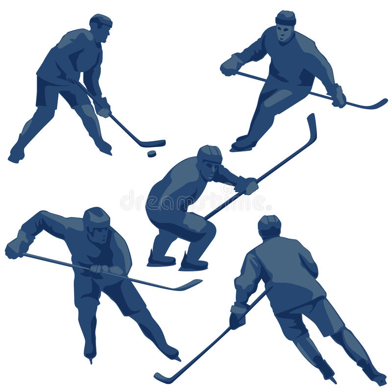 Sylwetki zamrażają gracz w hokeja: obrońcy, posyłają i bramkarz royalty ilustracja