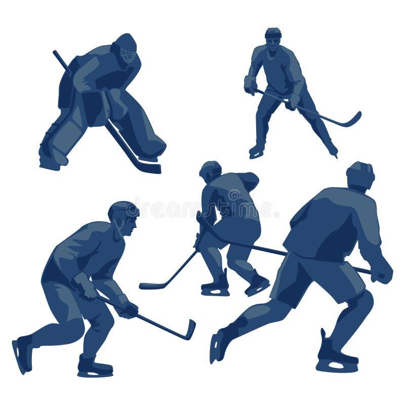 Sylwetki zamrażają gracz w hokeja: obrońcy, posyłają i bramkarz ilustracja wektor