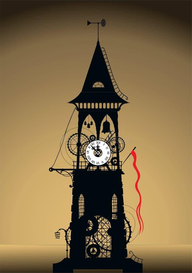 sylwetki zegarowy wierza royalty ilustracja