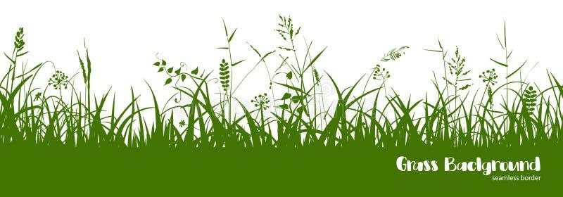 Sylwetki zielona trawa, kolce i ziele, rabatowy bezszwowy royalty ilustracja