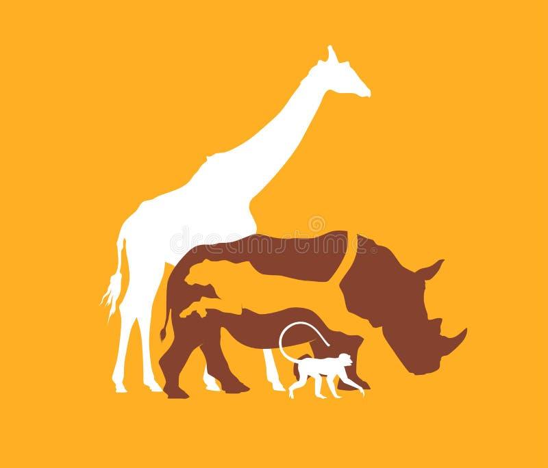 Sylwetki zwierzę Afrykańska sawanna, wektorowa ilustracja ilustracji