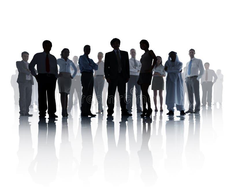 Sylwetkowa biznes drużyna na Białym tle zdjęcie stock