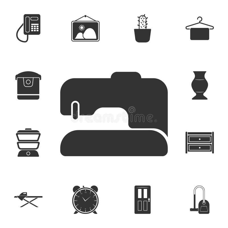 Symaskinsymbol Enkel beståndsdelillustration Uppsättning för samling för möblemang för symaskinsymboldesign hemifrån kan användas stock illustrationer