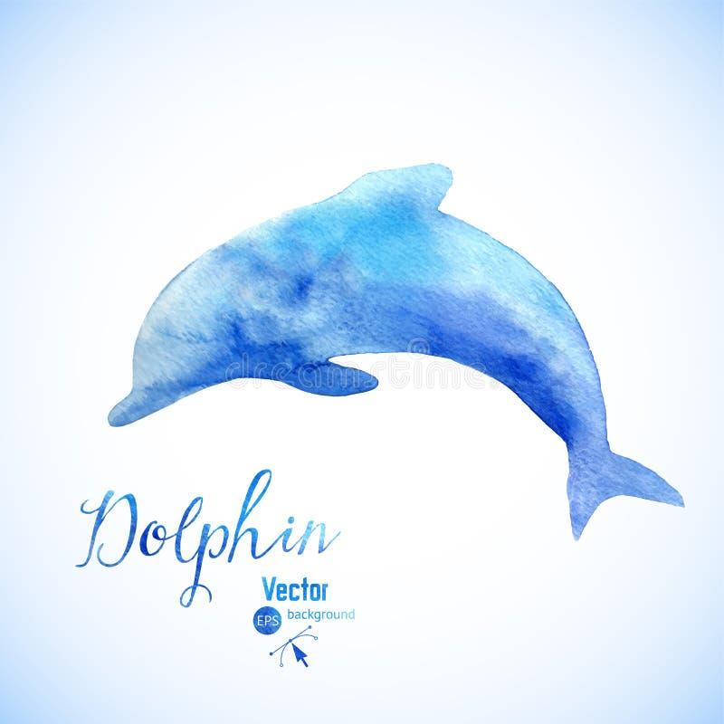 Symbel предпосылки дельфина акварели Скача голубая покрашенная акварель дельфина бесплатная иллюстрация