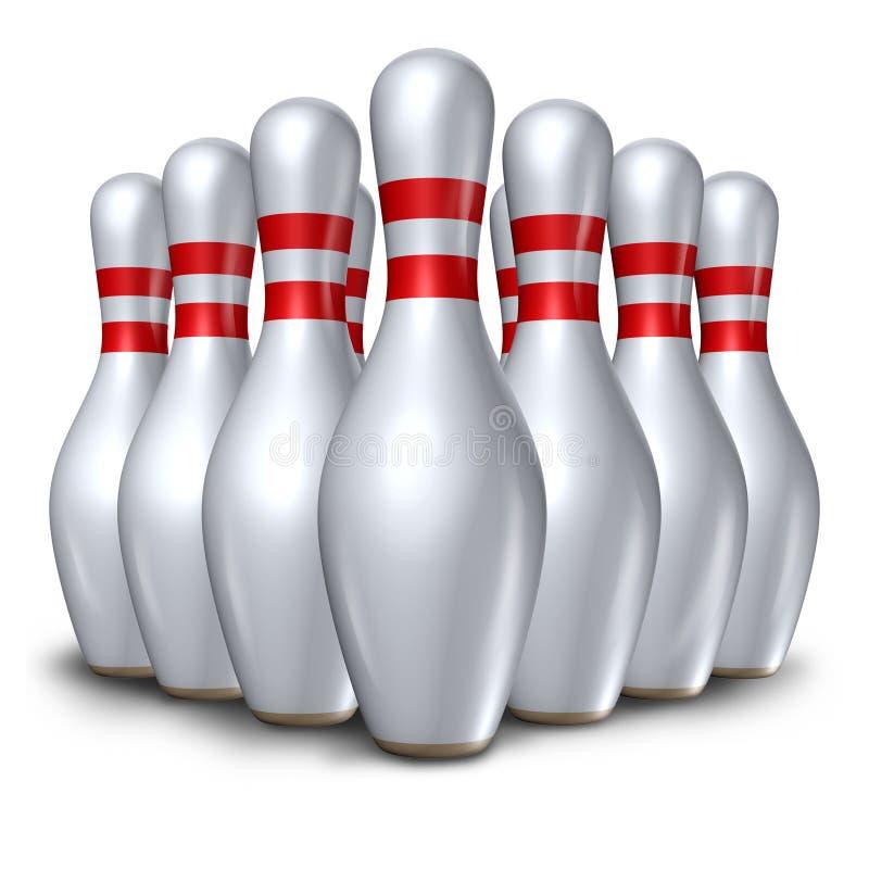 Symbo ajustado da bacia do pino dos pinos de bowling dez ilustração royalty free