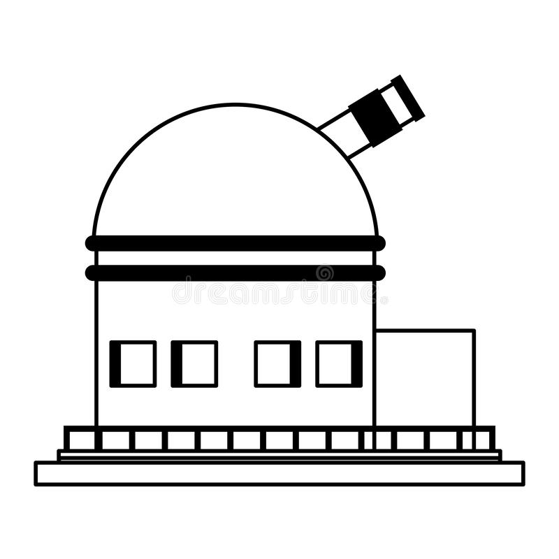 Symbo grande del telescopio del espacio aislado en blanco y negro ilustración del vector