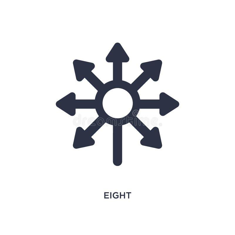 symbol åtta på vit bakgrund Enkel beståndsdelillustration från riktningsbegrepp vektor illustrationer
