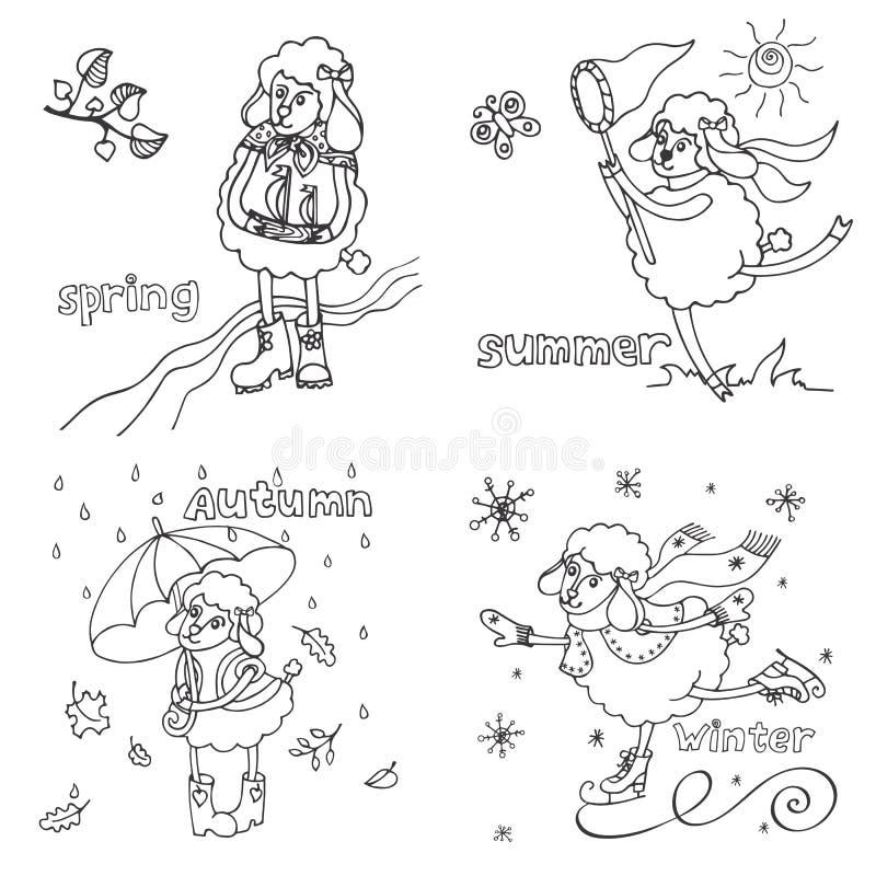 Symbol 2015 Śliczni konturów cakle w porze roku royalty ilustracja