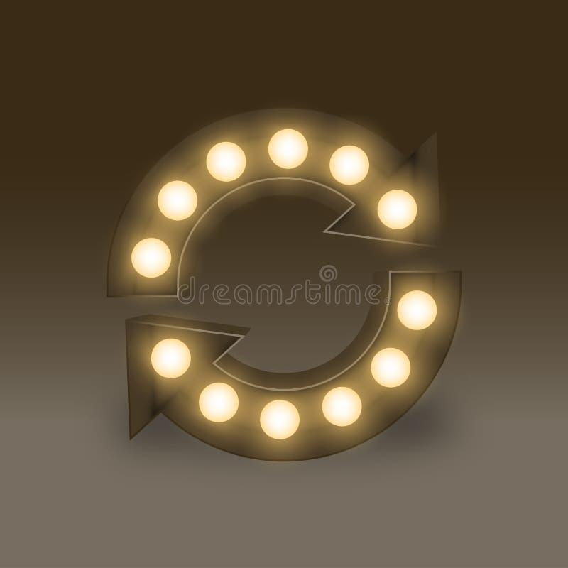 Symbol żarówki Płonącego pudełka synchronizacji ustalony znak, ilustracyjny retro 3D styl odizolowywał łunę w zmroku royalty ilustracja