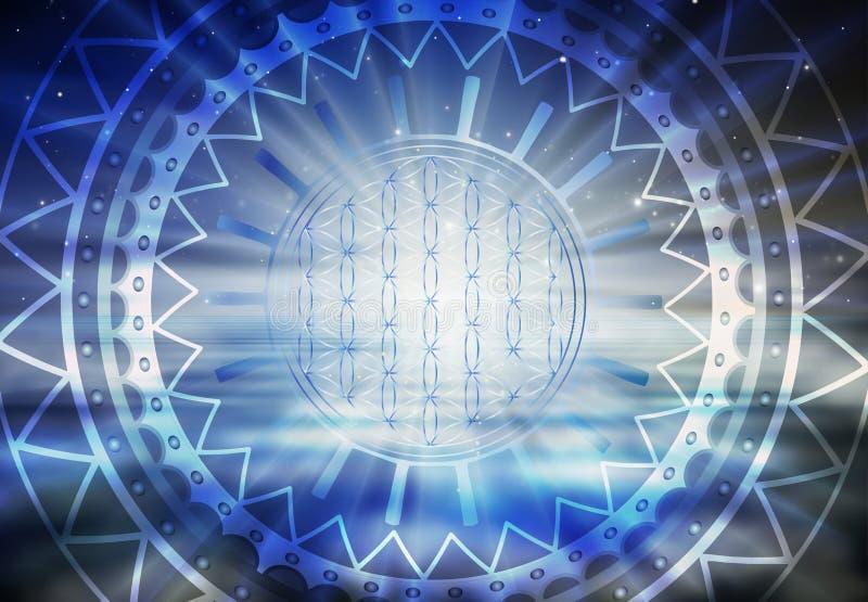 Symbol życia, portal, podróż duszy życia przez abstrakcyjne drzwi wszechświata ilustracja wektor