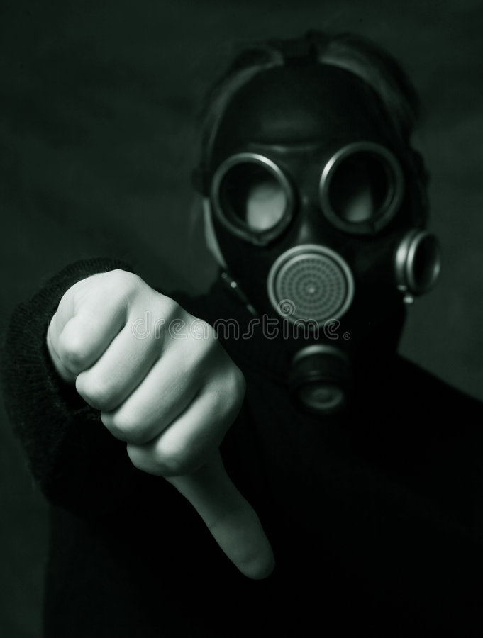 Symbol. Hand of man in gas mask showing the hand down symbol stock photography