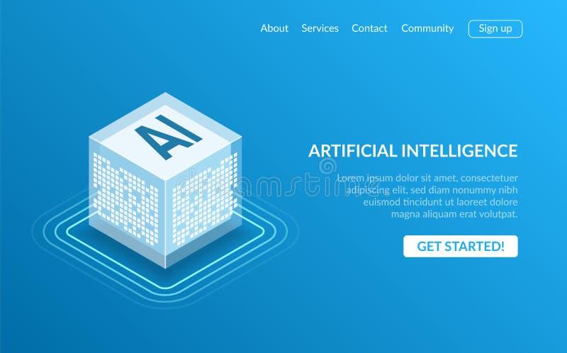 Symbol AI, beräknande begrepp för isometriskt moln, bryta för data, isometriskt nerv- nätverk, maskin för konstgjord intelligens vektor illustrationer