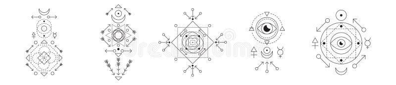 Symbol alchemia i święty geometria set Liniowego charakteru ilustracyjna kolekcja dla linia tatuażu na bielu ilustracja wektor