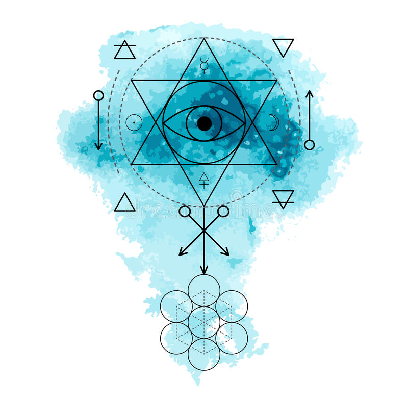 Symbol of alchemy and sacred geometry on the blue watercolor background. Linear character illustration for lines tattoo on the white isolated background royalty free illustration