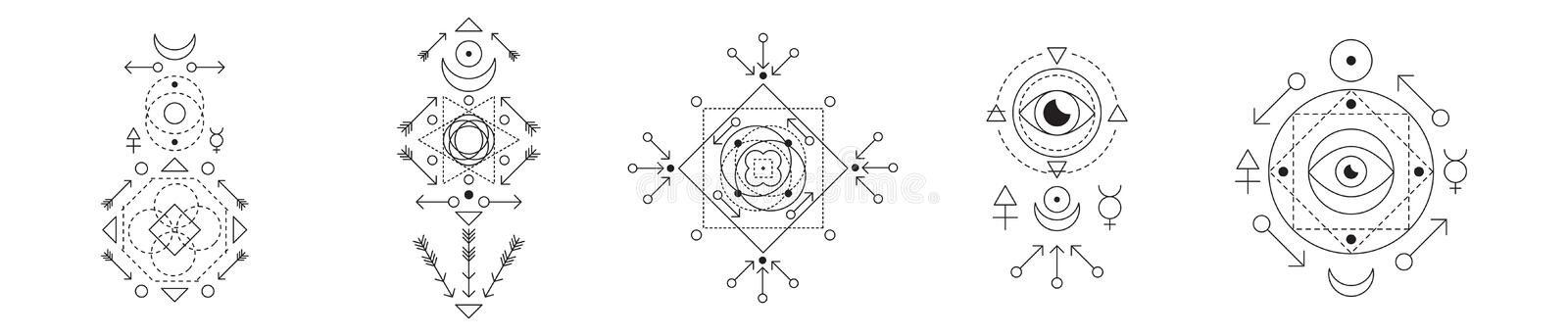 Symbol of alchemy and sacred geometry set. Linear character illustration collection for lines tattoo on the white. Isolated background vector illustration