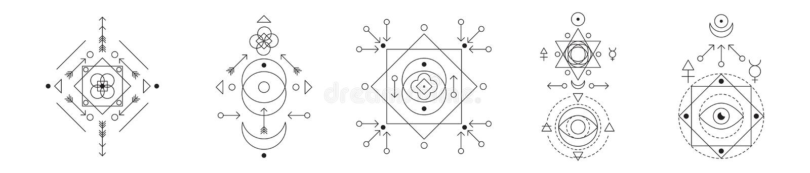 Symbol of alchemy and sacred geometry set. Linear character illustration collection for lines tattoo on the white vector illustration
