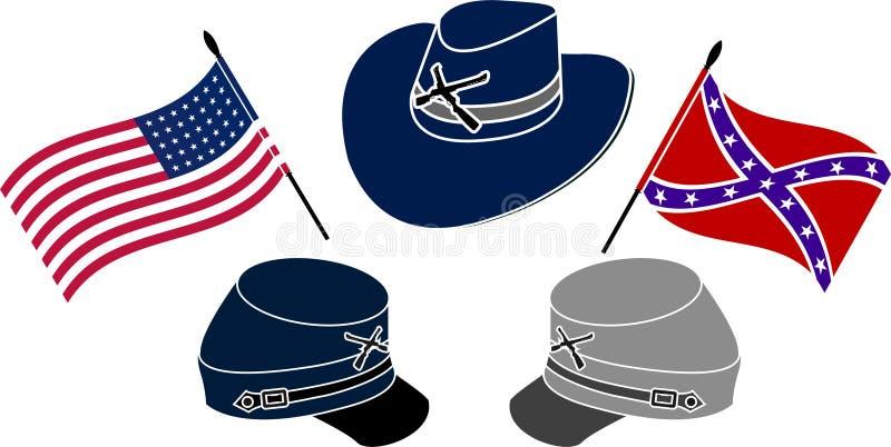Symbol amerykańska cywilna wojna ilustracji