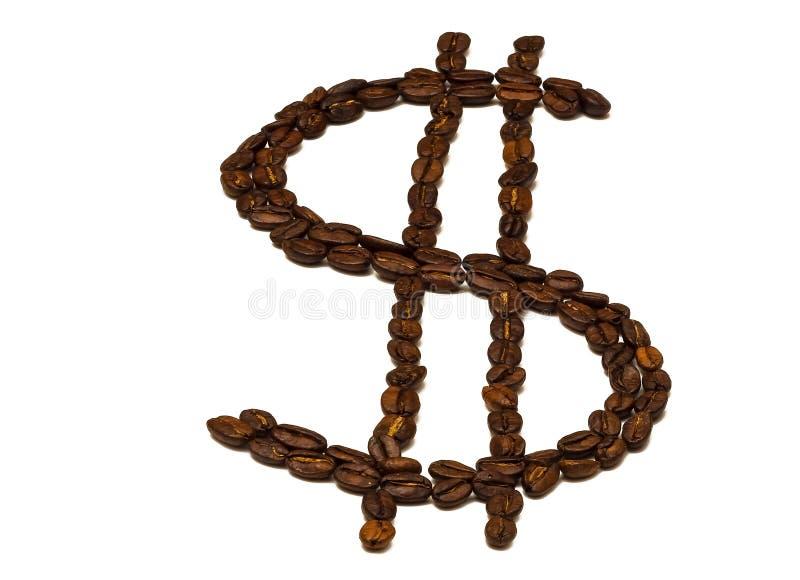Symbol Amerykański dolar wykładał z kawowymi fasolami na białym backg zdjęcie stock
